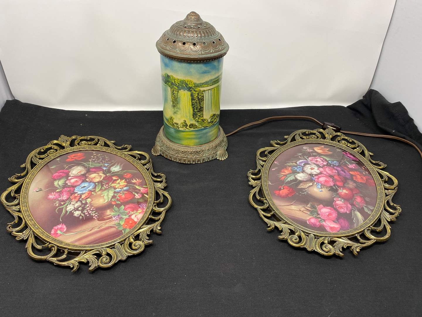 """Lot # 119 - Two Vintage Wall Hangings, Vintage """"Scene-in-Action Corp."""" Lamp - (Works) (main image)"""