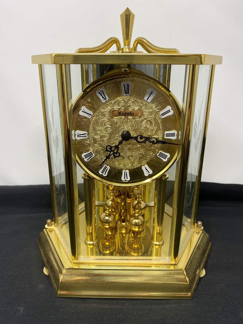 "Lot # 122 - Vintage German ""Kundo"" Brass Anniversary Clock (main image)"