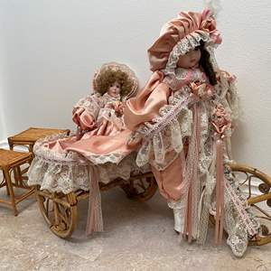 Lot # 123 - Rattan Tricycle w/ Two Platinum Collection Victorian Series-Porcelain Dolls, Small Rattan Stools
