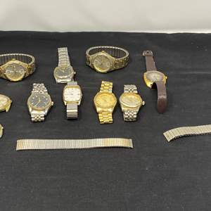 Lot # 130 - Vintage Watches: Rolex (Authentic?), Timex, Elgin, Wrangler & More