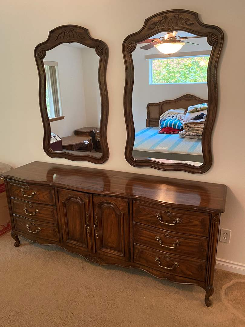 "Lot # 141 -  Vintage ""Drexel Cabernet"" Nine Drawer Dresser w/ Two Hanging Mirrors (main image)"
