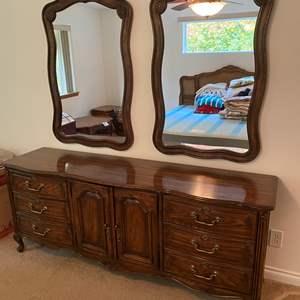 "Lot # 141 -  Vintage ""Drexel Cabernet"" Nine Drawer Dresser w/ Two Hanging Mirrors"