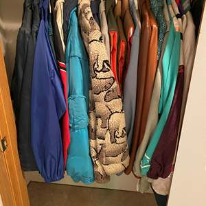 Lot # 144 - Closet of Vintage Men's & Woman's Jackets & Vests - (See Pictures for Sizes & Brands)