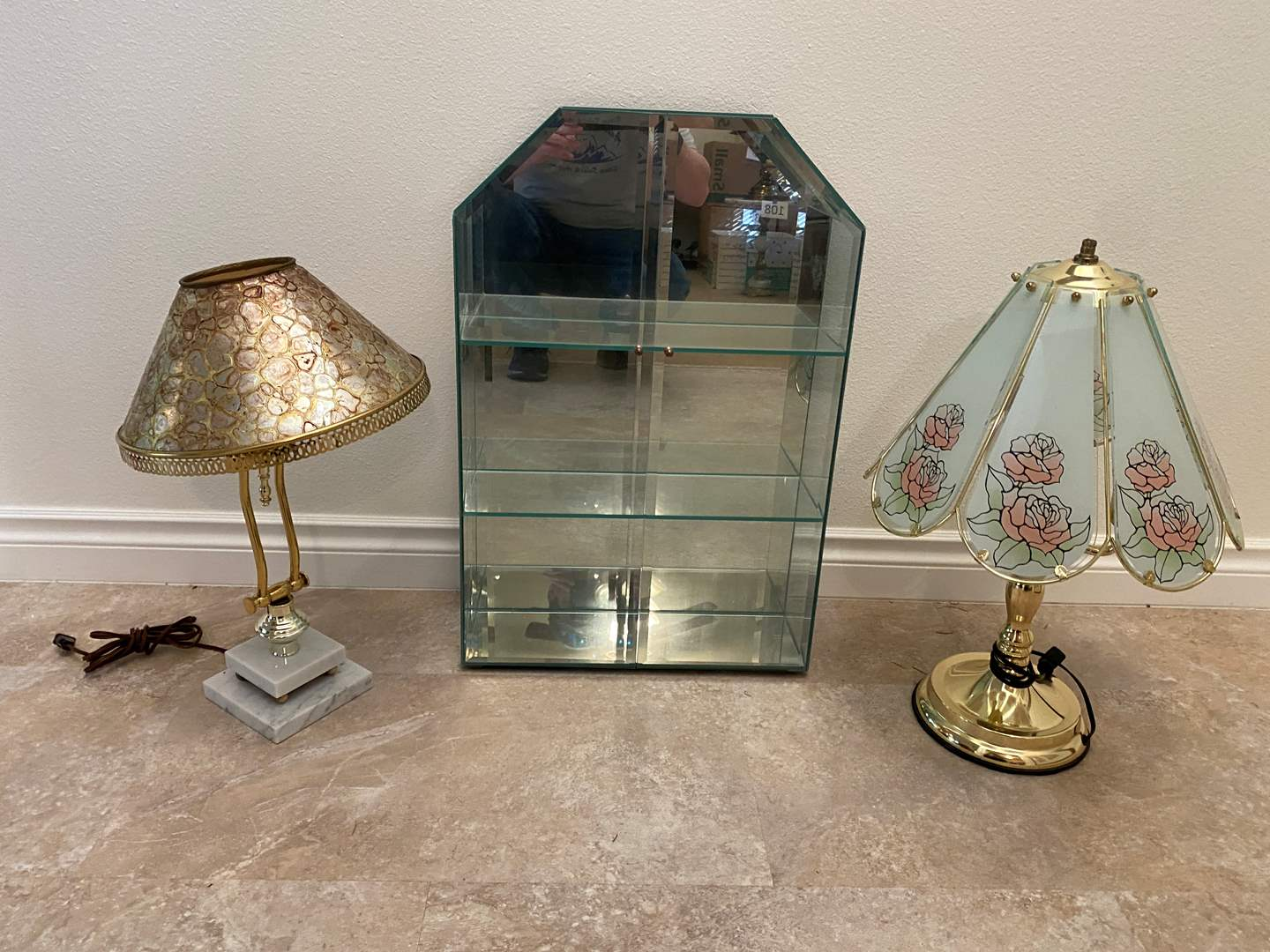 Lot # 146 - Glass & Brass Touch Lamp, Glass Display Case, Metal & Marble Lamp (main image)