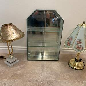 Lot # 146 - Glass & Brass Touch Lamp, Glass Display Case, Metal & Marble Lamp