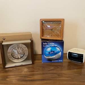 Lot # 162 - Lord King Quartz World Clock, Wood Clock, Sony Alarm Clock, New Info Globe Caller ID