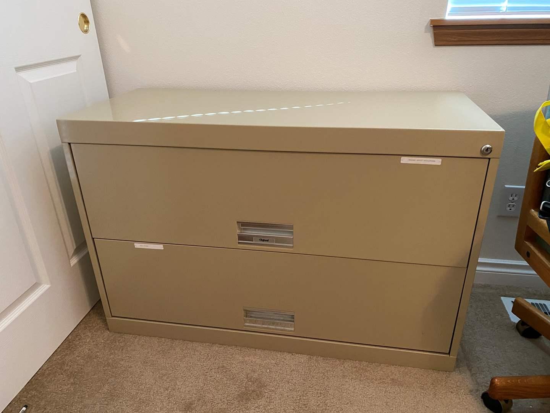 Lot # 163 - Large Metal Two Drawer File Cabinet (main image)