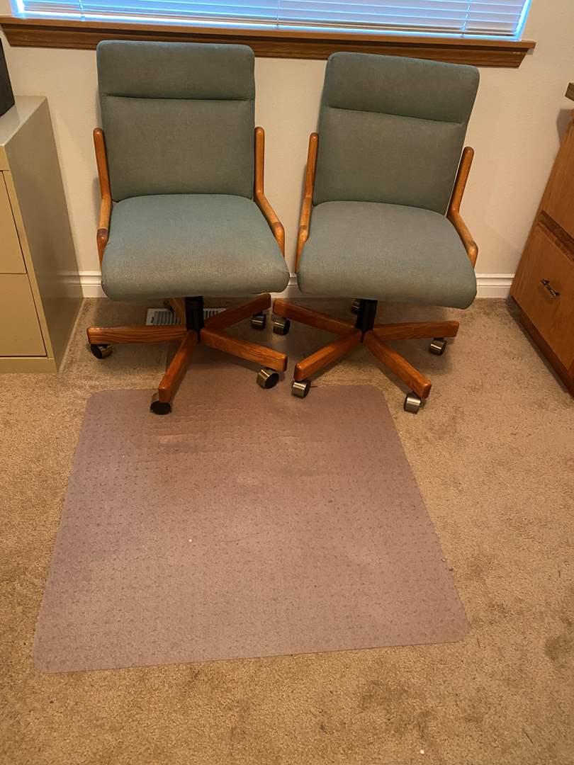 Lot # 169 - Two Oak Office Chairs w/ Mat (main image)