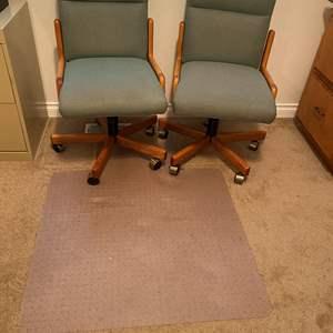 Lot # 169 - Two Oak Office Chairs w/ Mat