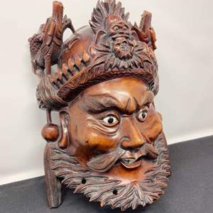 """Lot # 25 - Awesome Hand Carved Wood Head Wall Hanging - (10.5"""" tall)"""