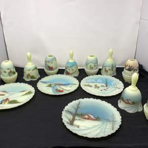 """Lot # 102 - Awesome Hand Painted """"Fenton"""" Plates, Bells, & Candle Holders"""