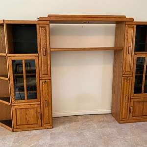 Lot # 125 - Large Lighted Oak Entertainment Wall Unit w/ Two Locking Cabinets