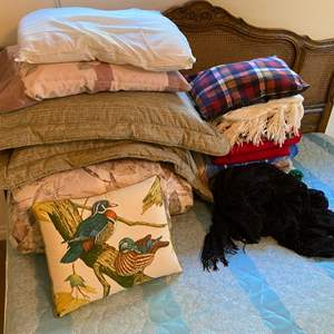 Lot # 136 - King Size Comforter, Pillows, Throw Blankets & More