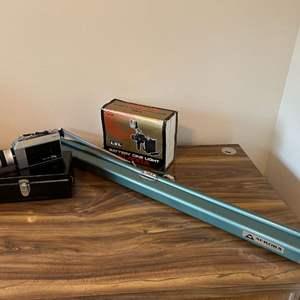 Lot # 181 - Vintage Canon Auto Zoom 814 Camcorder, Cine Light XL-100A, Aurora Projector Screen