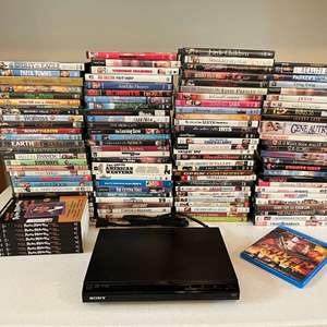 Lot # 189 - Sony DVD Player w/ Large Collection of DVD's - (See Pictures for Titles)
