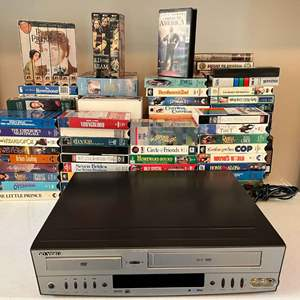 Lot # 190 - Go Video DVD/VHS Player w/ Large Collection of VHS Classics
