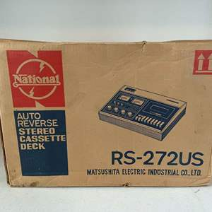 """Lot # 194 - New in Box Vintage """"National"""" Auto Reverse Stereo Cassette Deck - (Model - RS272US)"""