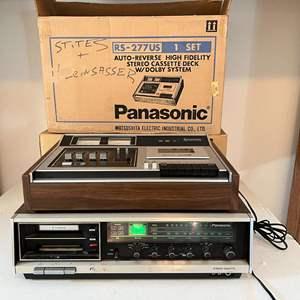 Lot # 213 - Panasonic RS-277US Stereo Cassette Deck, Panasonic RS-2845 8-Track Player/Stereo