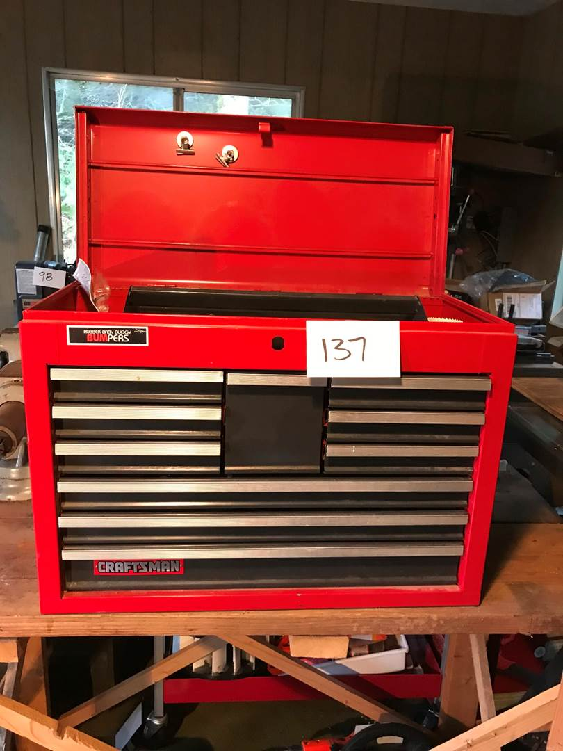 "Lot # 137  - Craftsman 10 Drawer Toolbox Full of Screw Drivers & Misc Tools - 19""t x 26""w x 12""d. (main image)"