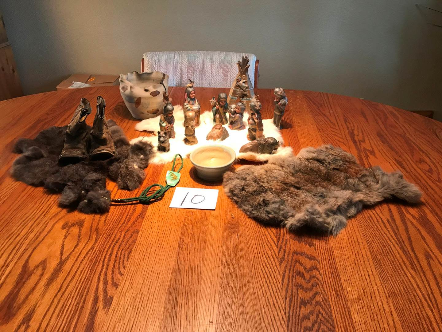 Lot # 10 - Cool Native American Nativity Set, Vintage Children's Cowboy Boots, Rabbit Furs, Pottery & More. (main image)