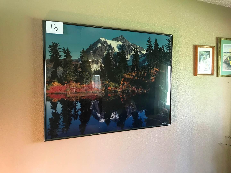 "Lot # 13 - Signed Print of Mt Shuksan/Lower Lake by: Bob Runyon - 40.5"" x 30.5"". (main image)"