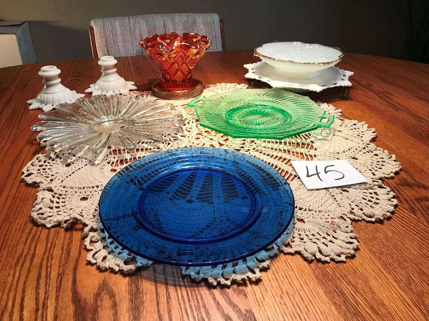 Lot # 45 - Vintage: milkglass, cranberry glass, pressed glass, more (main image)