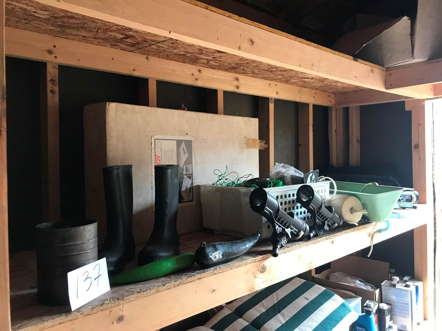 Lot # 137 - Fishing Lot: Fishing Net, Weights, Boots Size 8, Bait Boy Fish Cleaning Tables, 4 Pole Holders & More. (main image)