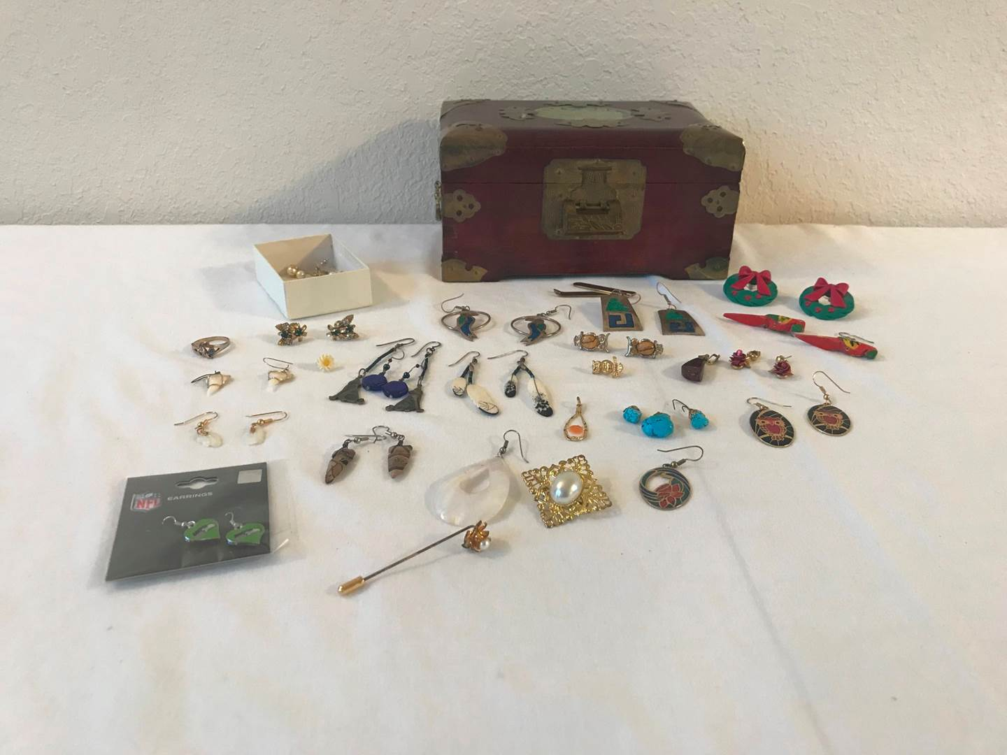 Lot # 180 - Misc Earrings, Nice Wood Musical Jewelry Box Made in Shanghai China. (main image)