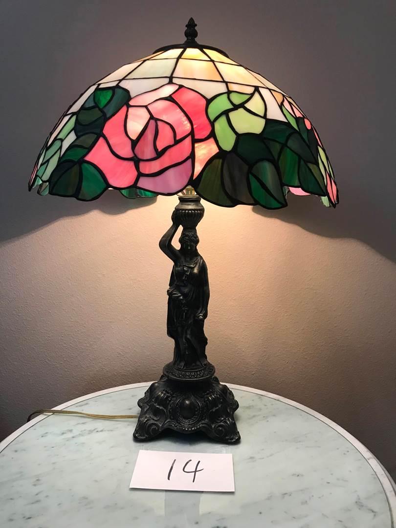 """Lot # 14 - Beautiful Tiffany Style Lamp, very heavy metal, rose pattern, woman figure base, 23""""tall (main image)"""