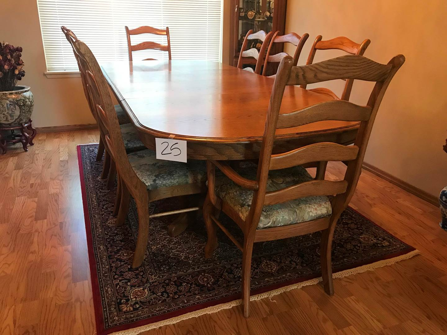 """Lot # 25 - Beautiful oak table with two 18"""" leaves, 2 captains chairs, 4 others. Made by Studio K Inc. 1988. Glass topper (main image)"""