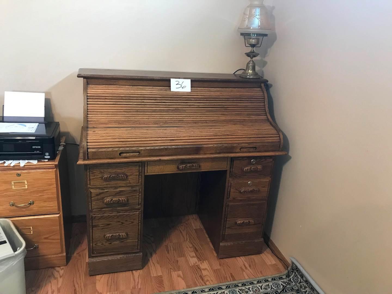 Lot # 36 - Oak rolltop desk, key, lamp not included. 48x24x45.5hi (main image)