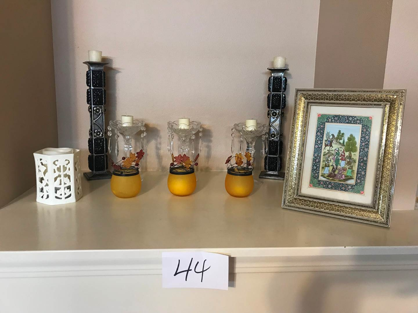 Lot # 44 - Assorted items: metal, crystal, glass candle holders, framed Asian picture (main image)