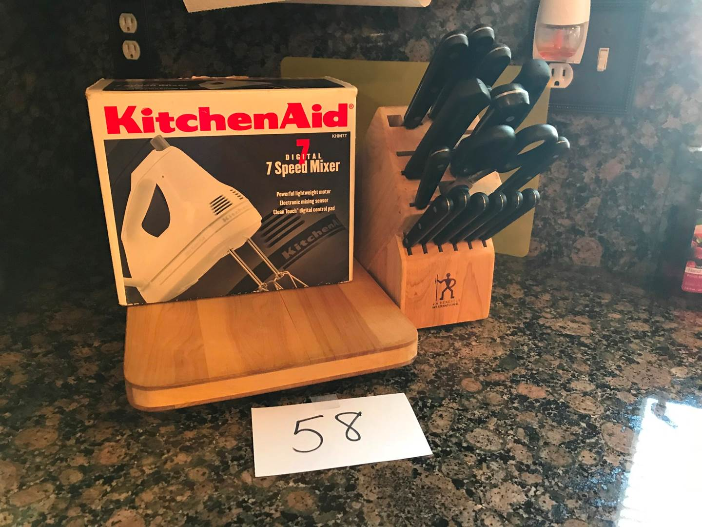 Lot # 58 - EverSharp knives & block, cutting boards, Kitchenaid hand mixer (main image)