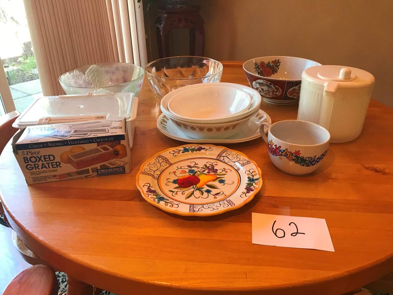 Lot # 62 - Corelle, glass bowls, box grater, more (main image)