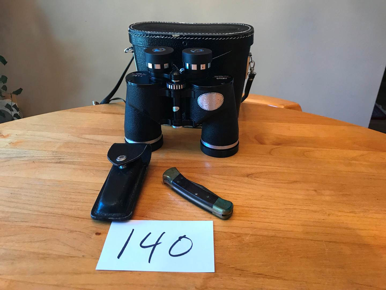 Lot # 140 - Sirius 7 x 50 Binoculars, Folding Buck Knife. (main image)