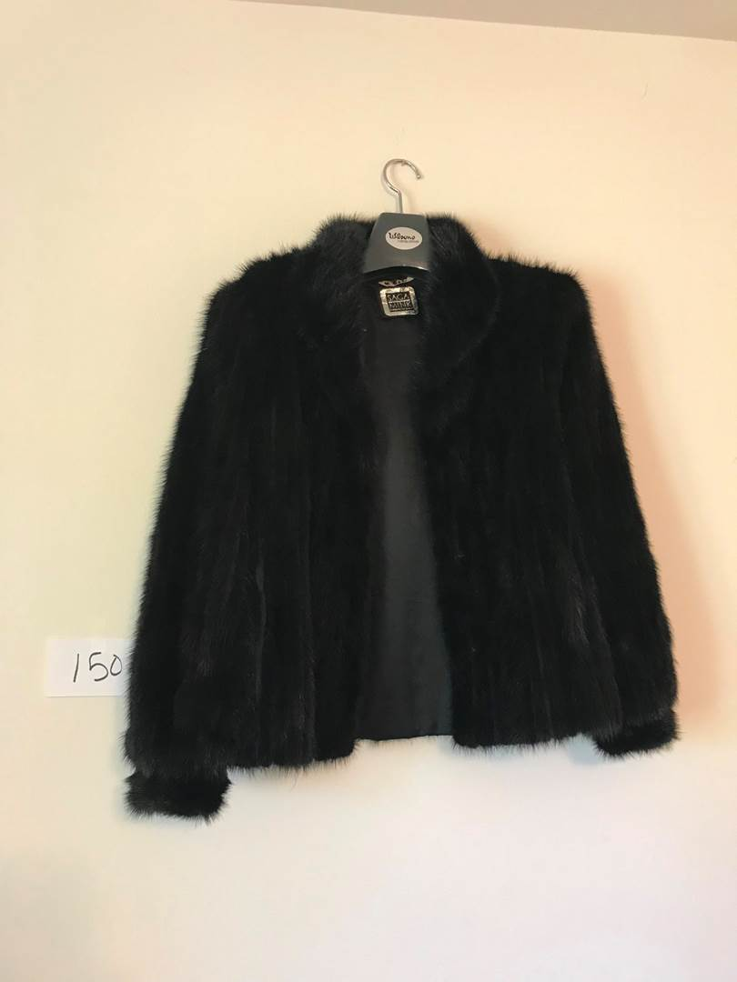 Lot # 150 - Beautiful Black Saga Mink Coat (Furs by Wilson) Size: Medium. (main image)