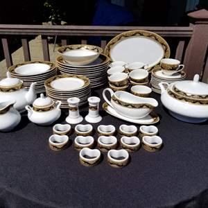 Auction Thumbnail for: Lot # 35 - Service of 12 Pegasus Porcelain Black w/Gold Trim Dinner Plates,Salad Plates,Bowls,Cups/Saucers,Soup Tureen & More..