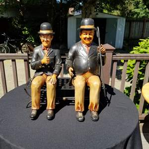 Auction Thumbnail for: Lot # 21 - Vintage Wood Laurel & Hardy Statues on Bench
