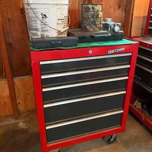 Auction Thumbnail for: Lot # 342 - Rolling Craftsman Tool Chest w/Misc Tools - No Keys