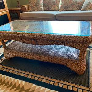 "Auction Thumbnail for: Lot # 60 - Nice Wicker Style Coffee Table w/Glass Top by ""Capris Furniture"" - Caramelo Finish"