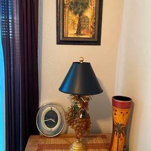 Auction Thumbnail for: Lot # 21 - Cute Lamp, Palm Picture, Clock & Vase w/Mat