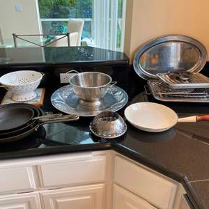 Auction Thumbnail for: Lot # 62 - Roasting Pans, Colanders, Serving Dishes, Emeril Frying Pans, Cast Iron Skillet & More..
