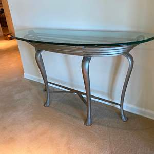 Auction Thumbnail for: Lot # 193 - Wrought Iron Side Table w/Beveled Glass Top