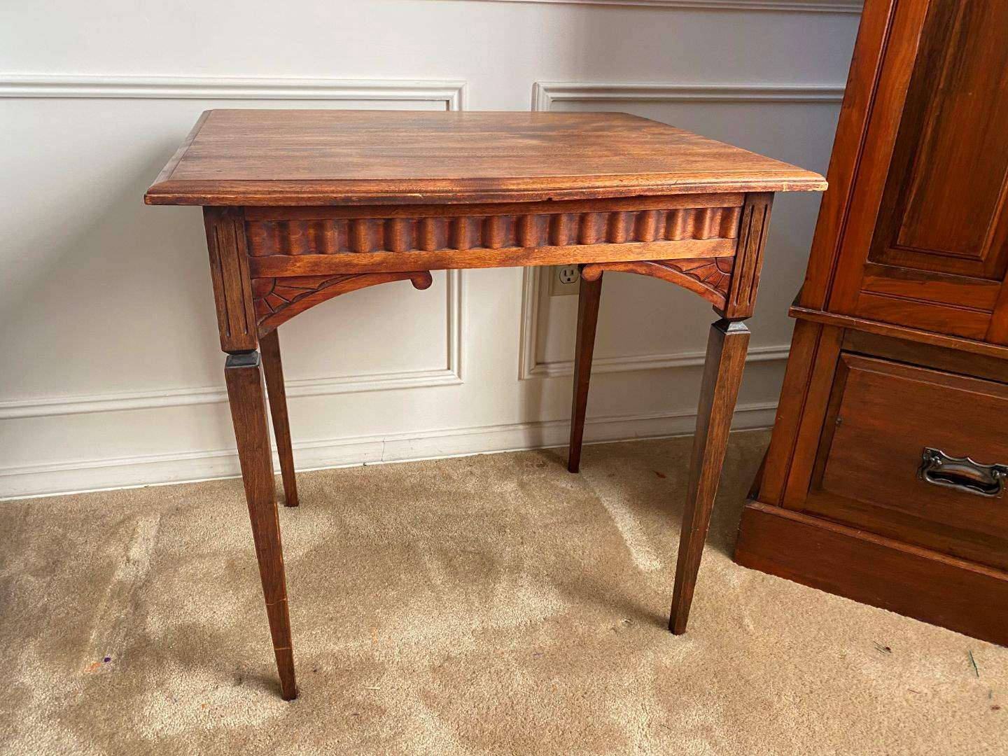 Lot # 2 - Antique Wood Side Table  (main image)
