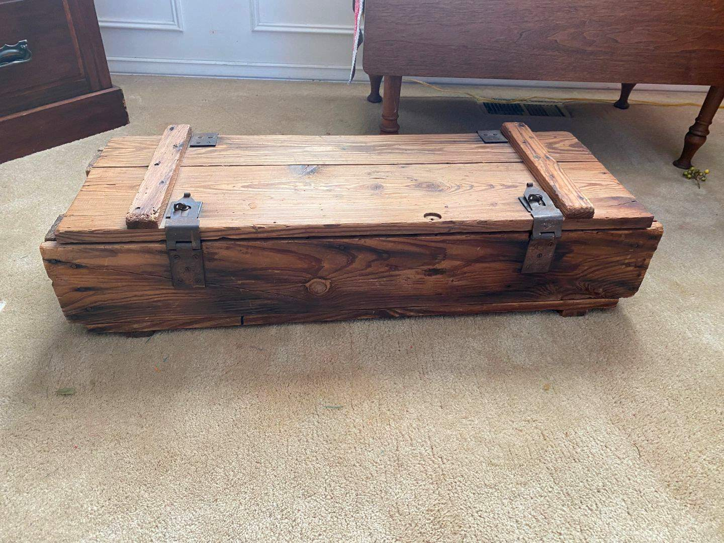 Lot # 3 - Vintage Wood Military Ammo Crate (main image)
