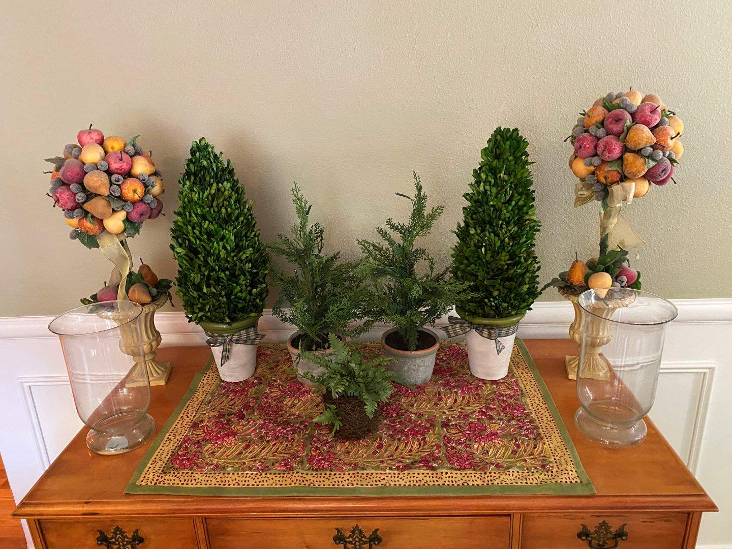 Lot # 15 - Home Decor Items; Faux Plants, Vases, Small Lighted Faux Tree & More.. (main image)