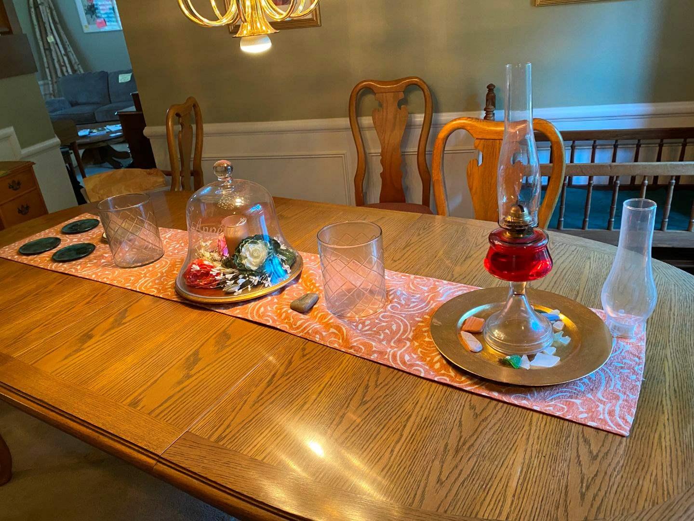 Lot # 19 - Table Runner, Oil Lamp & Table Decor (main image)