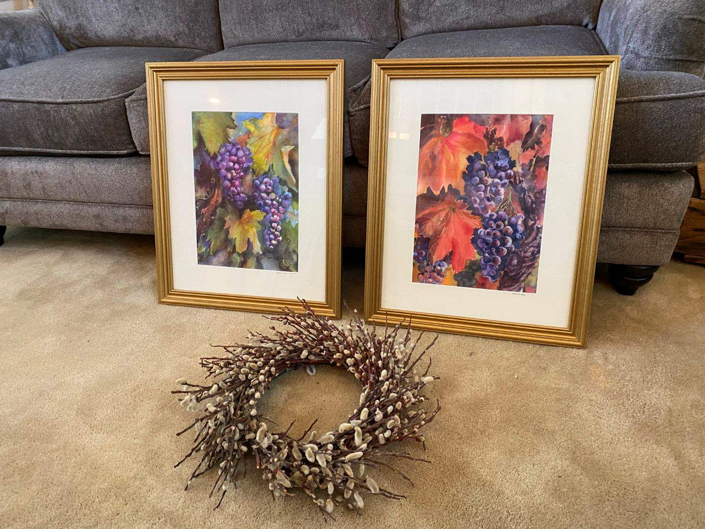 Lot # 22 - Two Signed Prints by Sharon Carr w/Pussy Willow Wreath (main image)