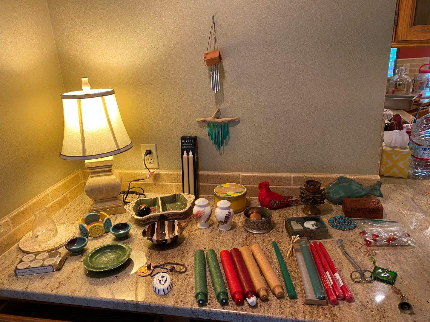 Lot # 23 - Pottery, Candles, Chimes, Small Wood Box & More.. (main image)