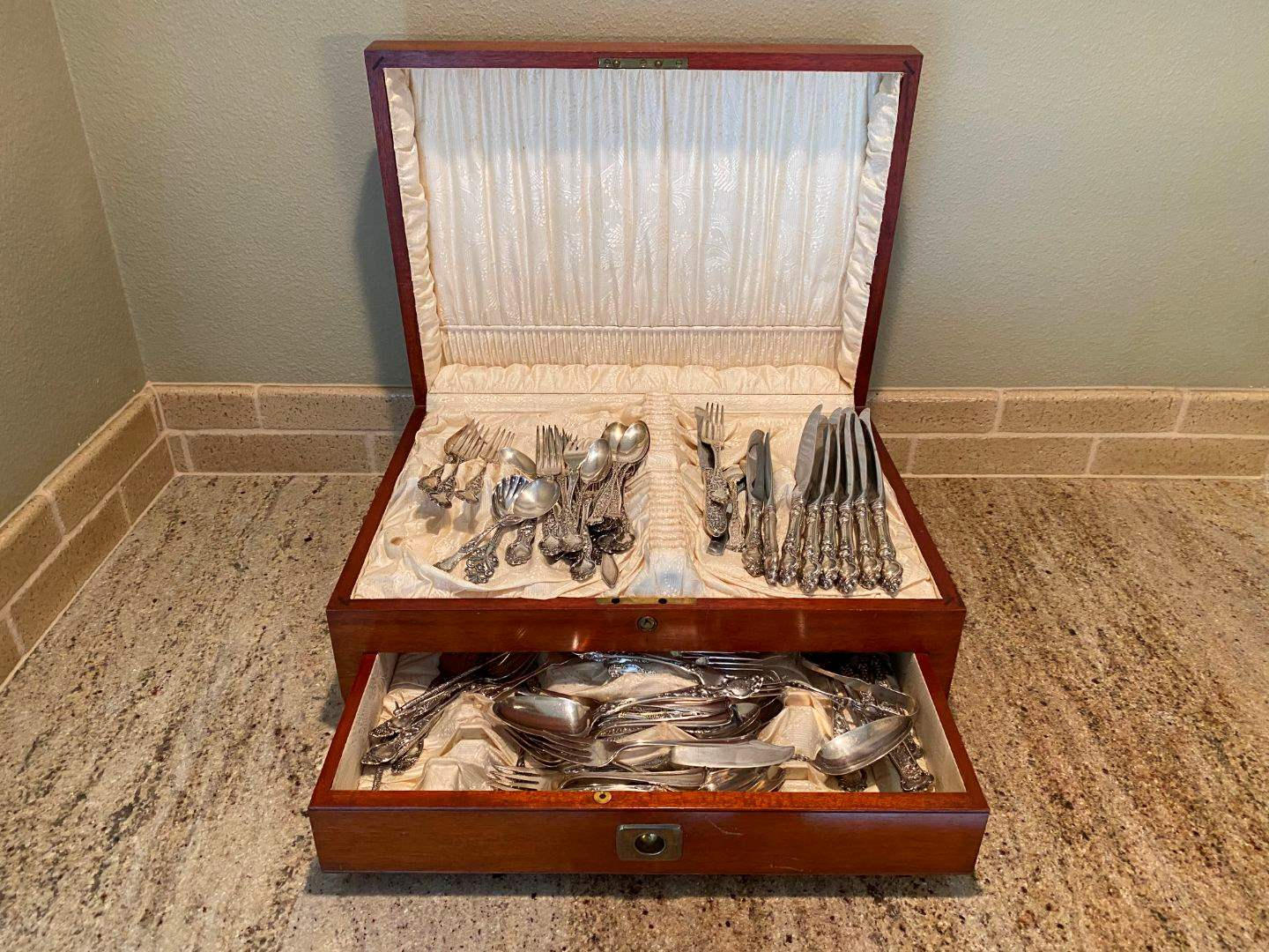 Lot # 29 - 70 Pieces of Misc Sterling Flatware w/Beautiful Box from 1906 - (Total Weight 88.4 Regular Ounces) (main image)